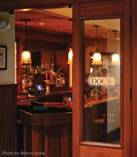 Entrance to Doc's Restaurant & Bar in Downtown Glens Falls NY